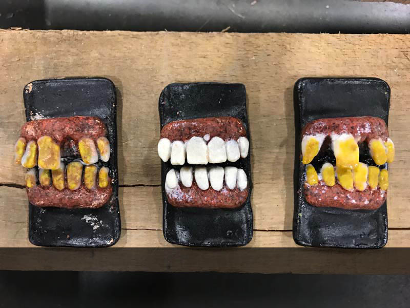 "Chompers, 2018, cast glass, 3 pieces 6"" x 4"" each"